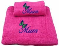 Mum with Butterfly design towel set.  Hot Pink.